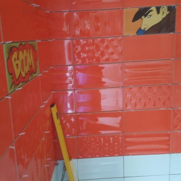tiling being fitted