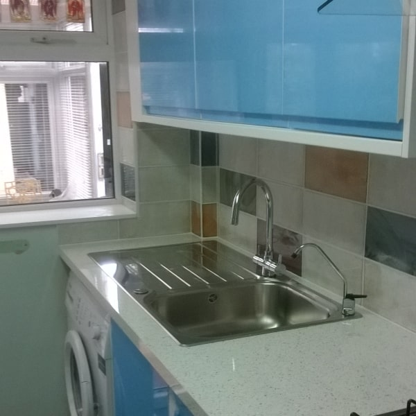 blue kitchen fitted in swindon
